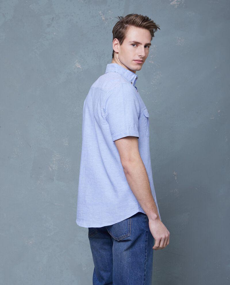 Camicia in lino e cotone in tinta unita