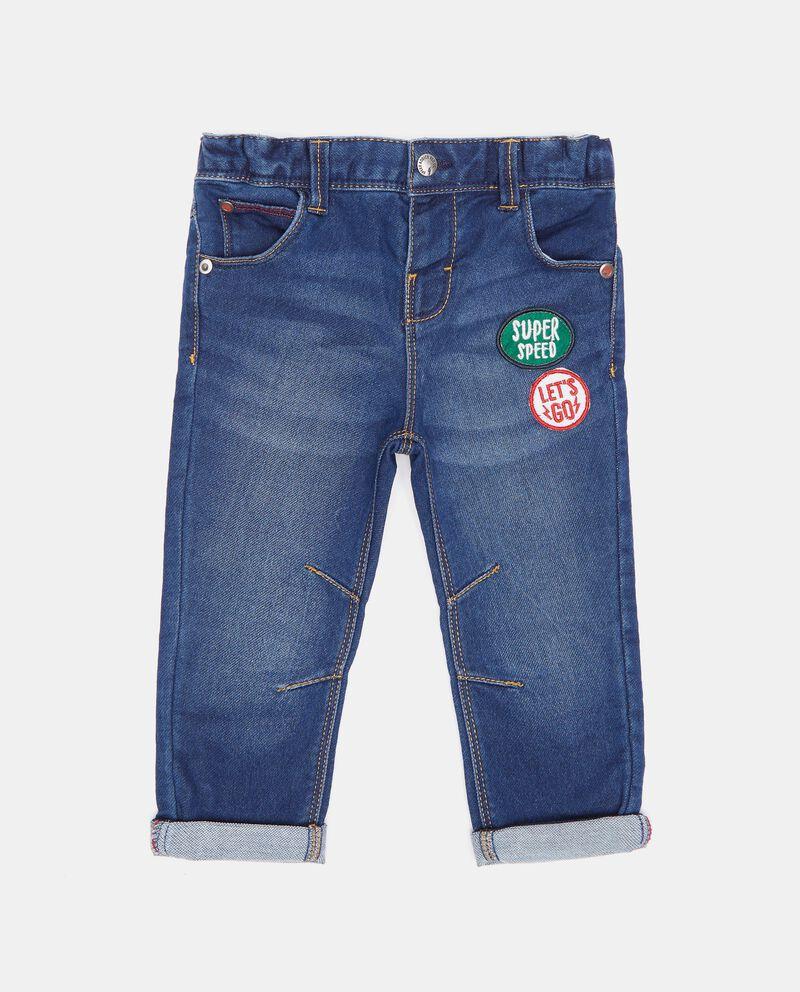 Jeans con patch in cotone biologico neonato