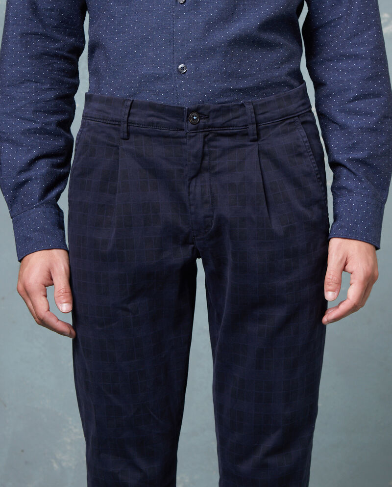 Pantaloni stretch fantasia a quadri