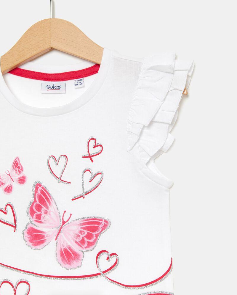 T-shirt con alette in puro cotone bambina