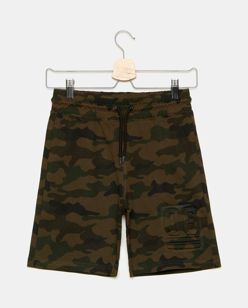 Bermuda con fantasia militare in puro cotone ragazzo