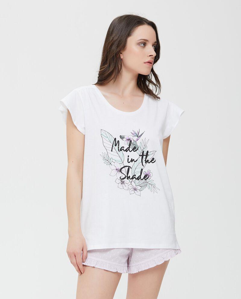 Top pigiama in puro cotone bianco con lettering donna