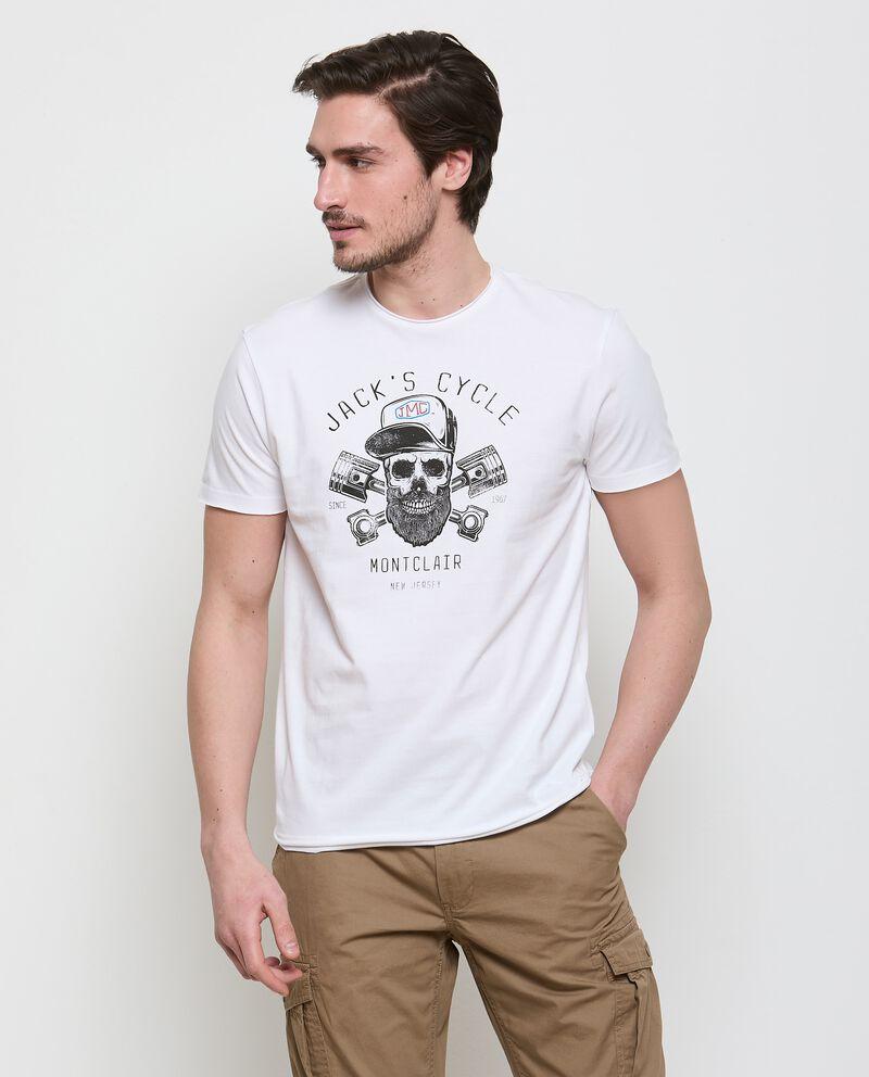 T-shirt con stampa teschio di puro cotone uomo