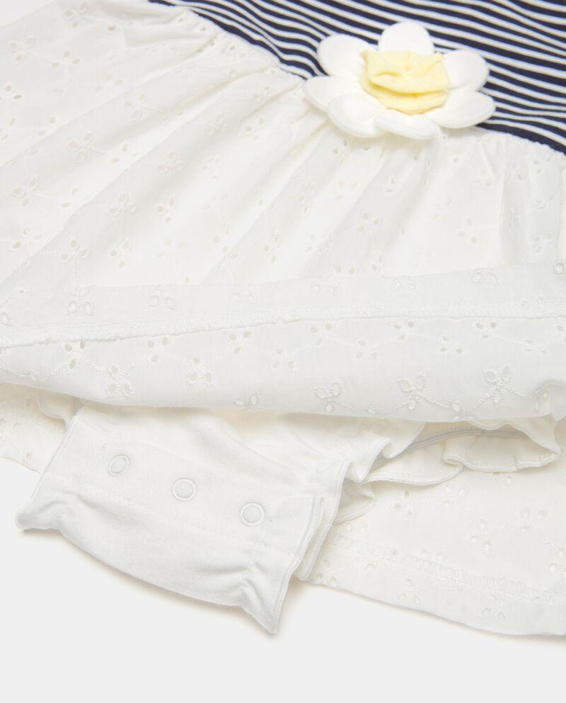 Vestito in jersey con fondo sangallo neonata