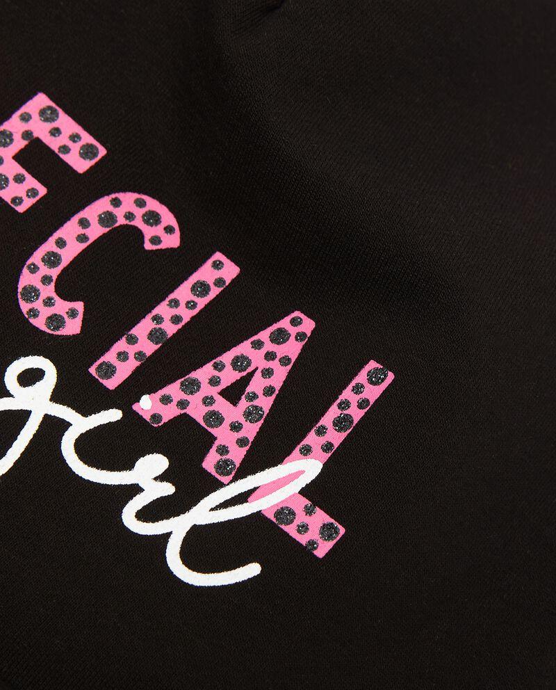 Berretto in cotone elastico con lettering in glitter