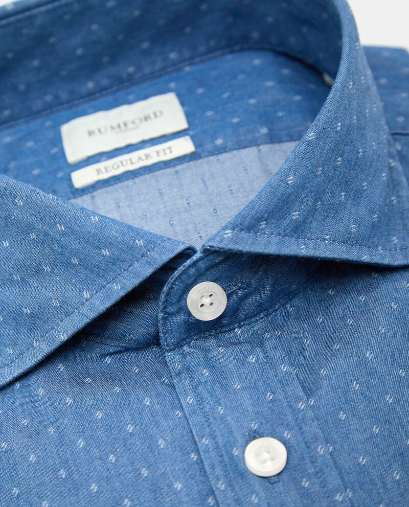 Camicia con micro fantasia in puro cotone uomo single tile 1