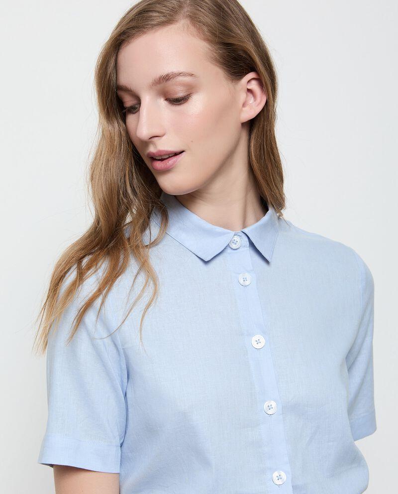 Camicia in lino misto viscosa tinta unita donna single tile 2