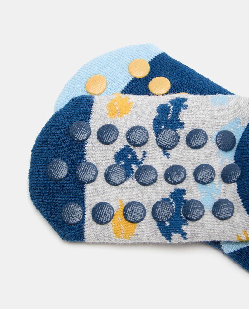 Bipack 2 paia di calzini cotone biologico stretch neonato single tile 1