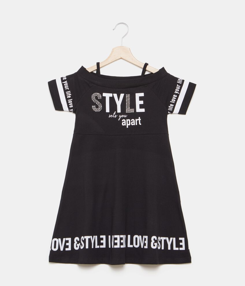 Vestito con lettering all-over ragazza