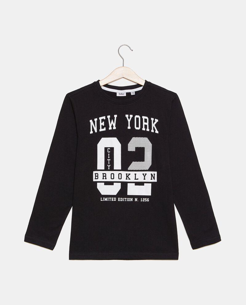 Maglia con stampa New York in puro cotone ragazzo