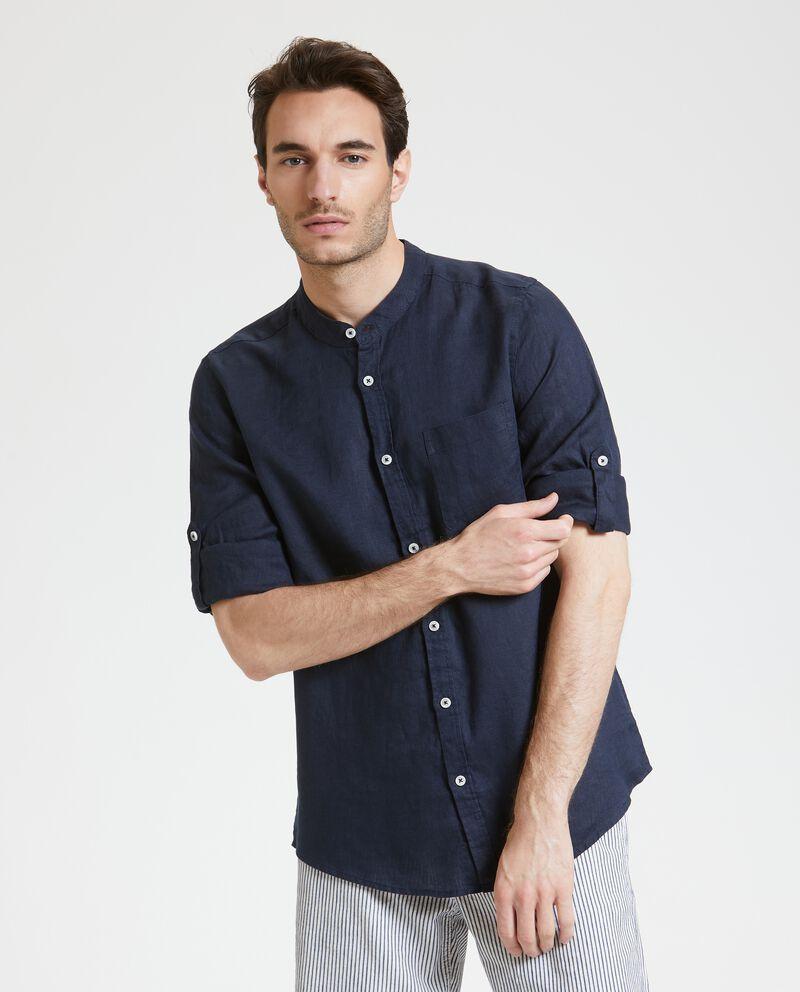 Camicia coreana in puro lino uomo