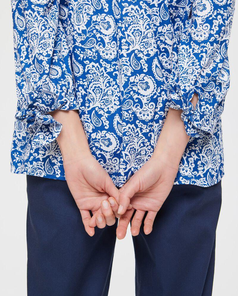 Blusa blu puro cotone con spalle scoperte