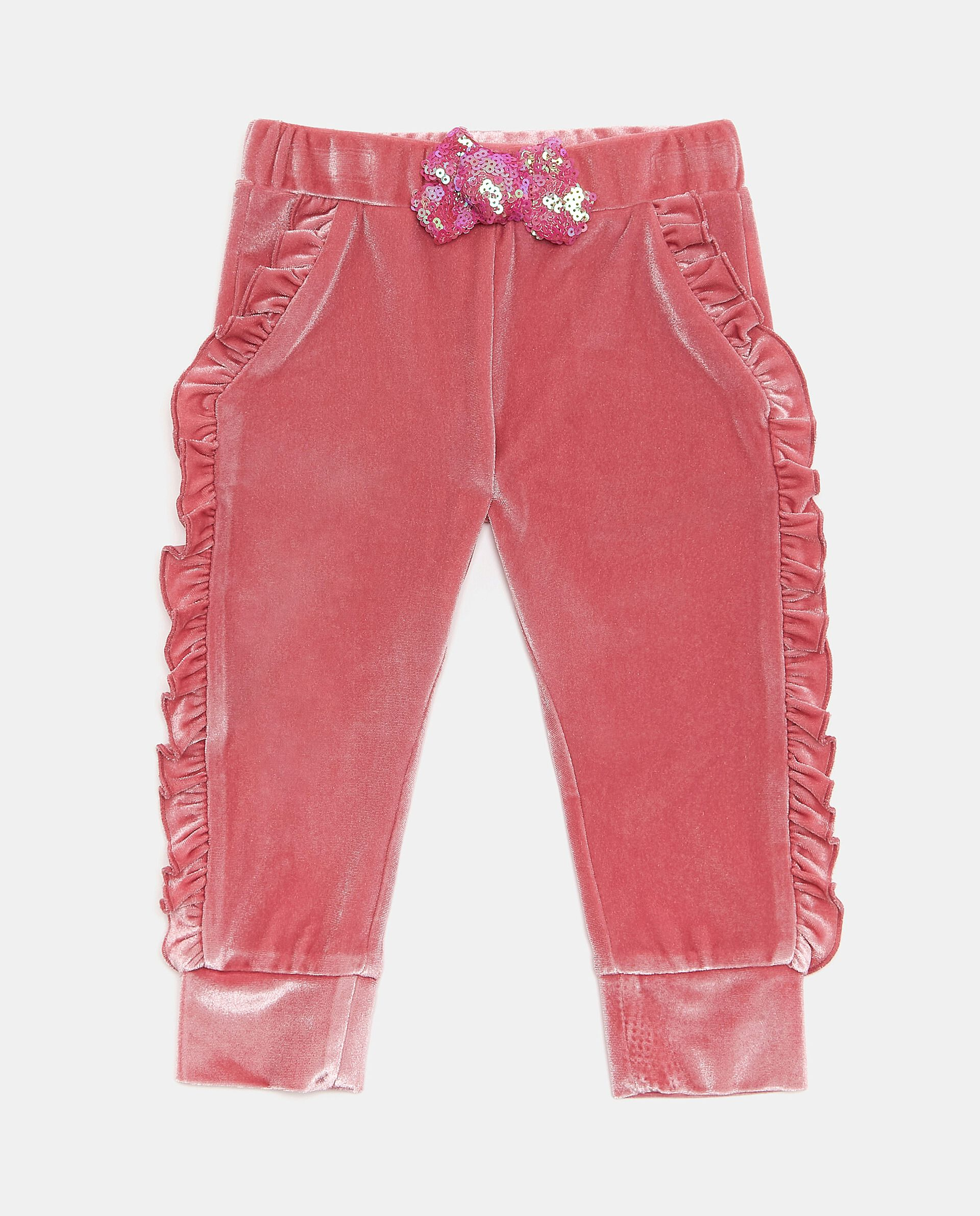 Pantaloni con ruche e fiocco neonata