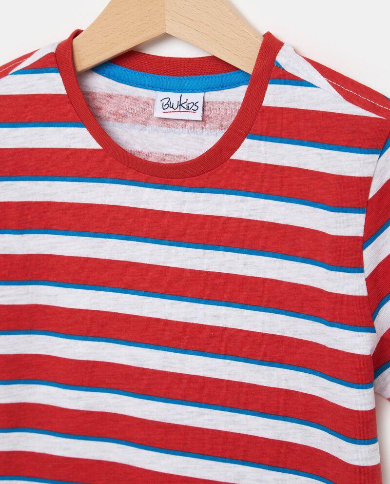 T-shirt rossa in cotone con motivo a righe bambino