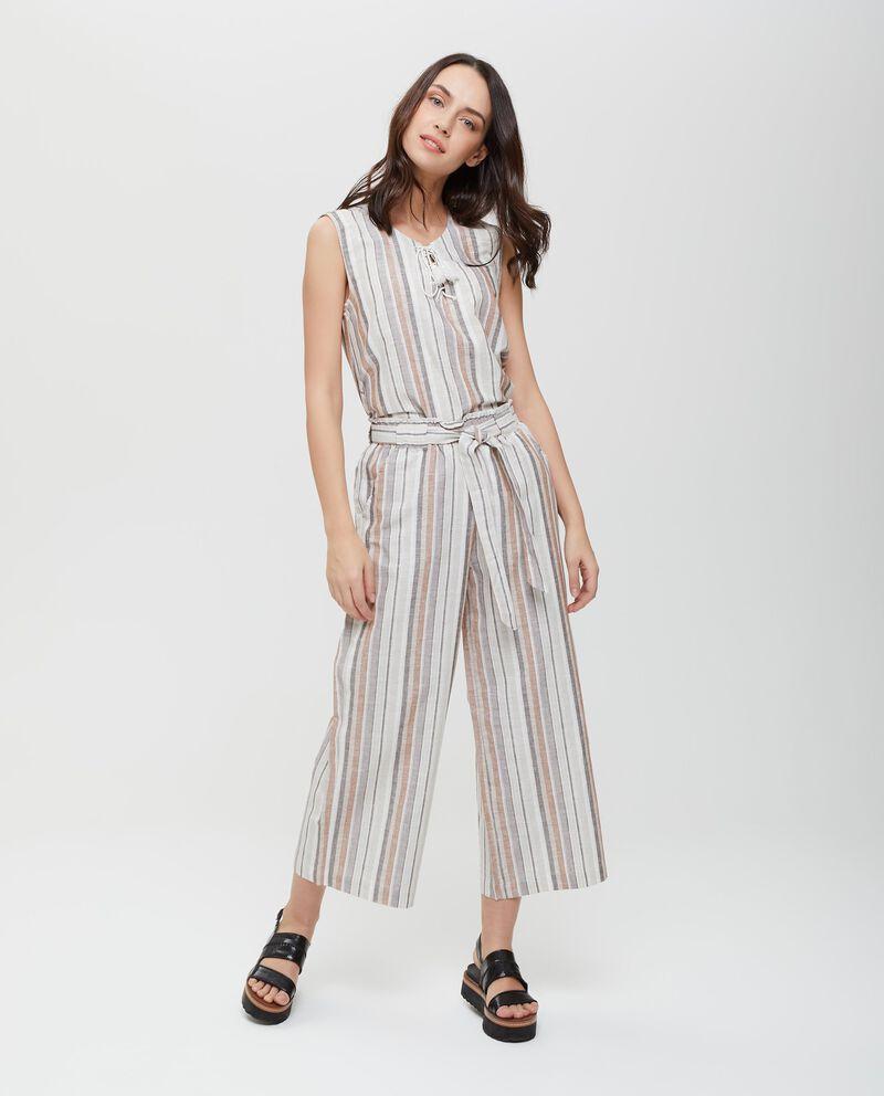Pantaloni in lino e cotone a palazzo crop donna