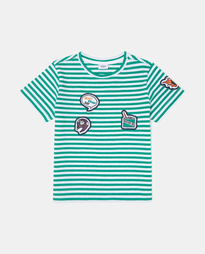 T-shirt fantasia a righe con patch