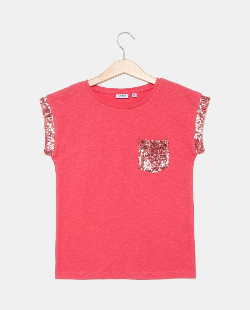 T-shirt con profili in paillettes in puro cotone ragazza