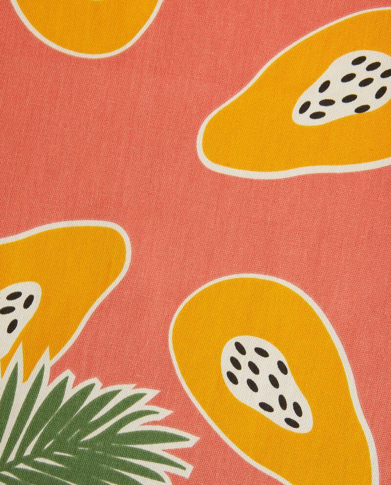 Runner con stampa papaya in puro cotone