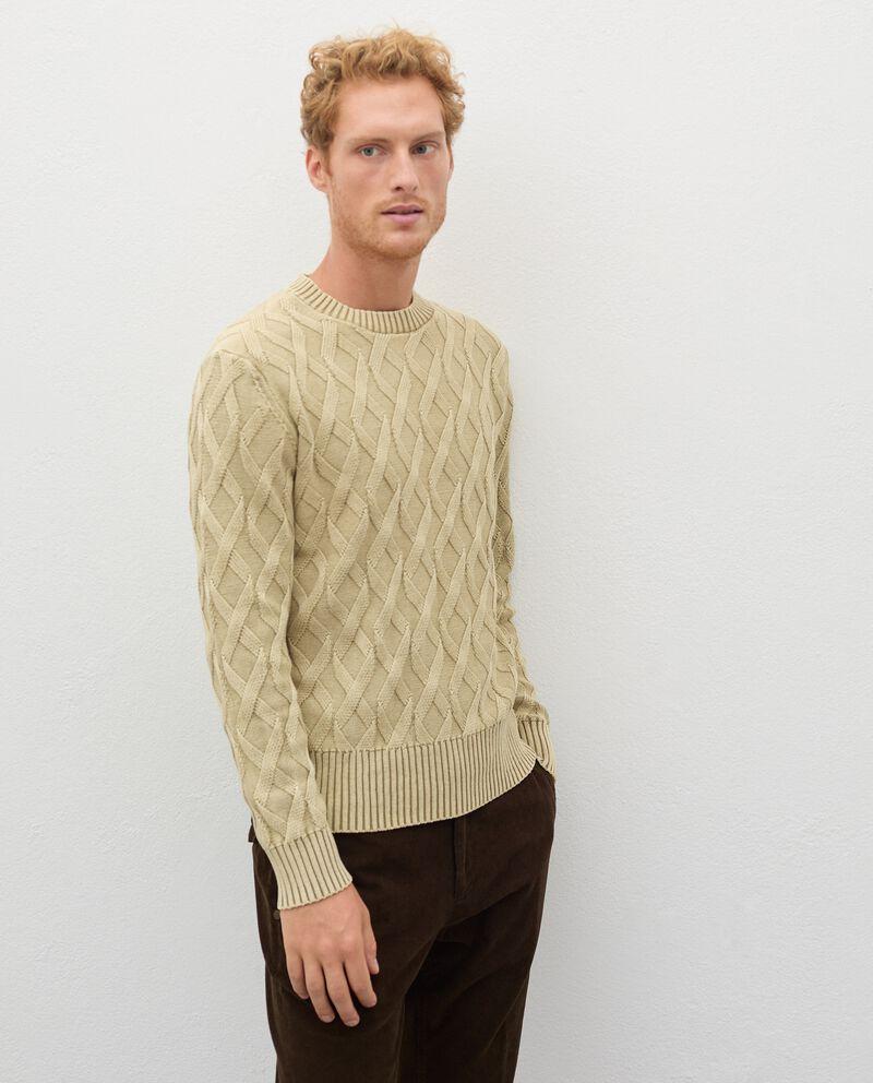 Pullover intrecciato in puro cotone uomo cover