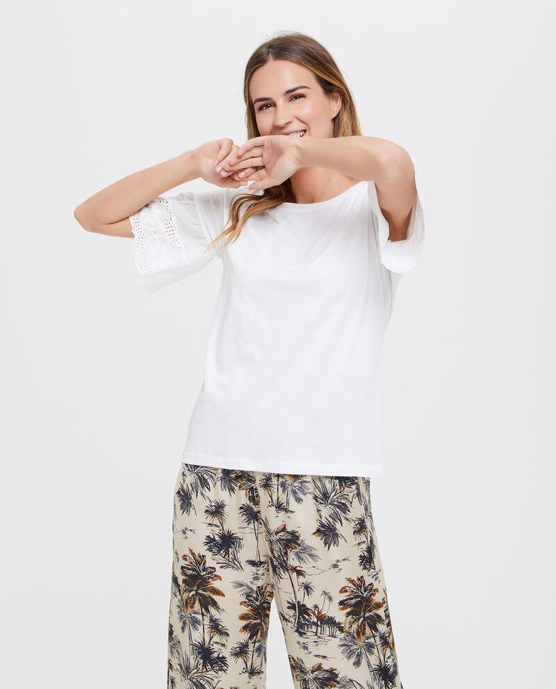 Maglietta in puro cotone donna con ricamo