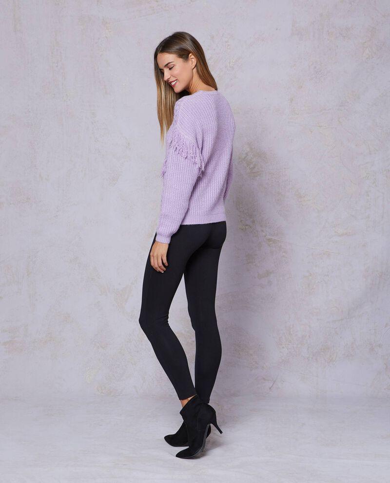 Pullover tricot tinta unita con frange