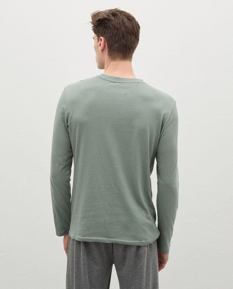 Maglia del pigiama con ricamo in puro cotone uomo single tile 1