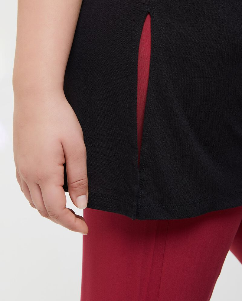 T-shirt in tinta unita in pura viscosa Curvy donna