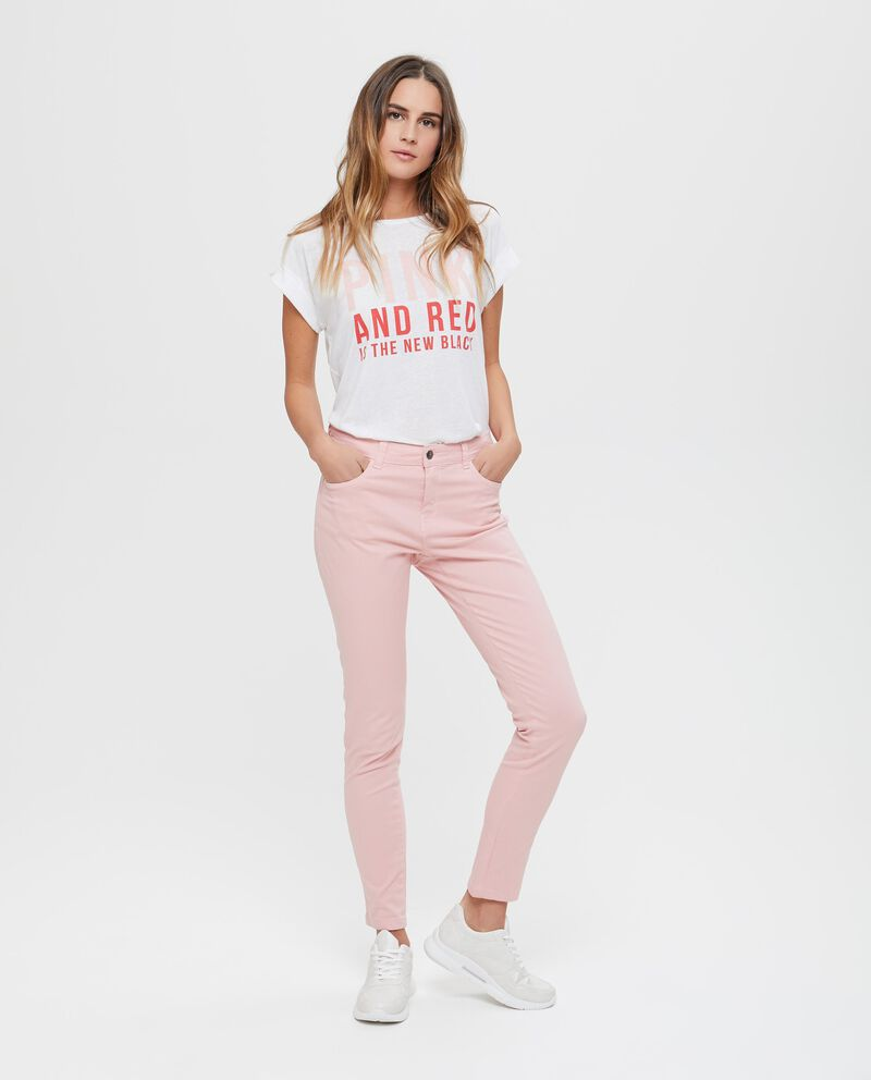 Pantaloni in cotone stretch tinta unita