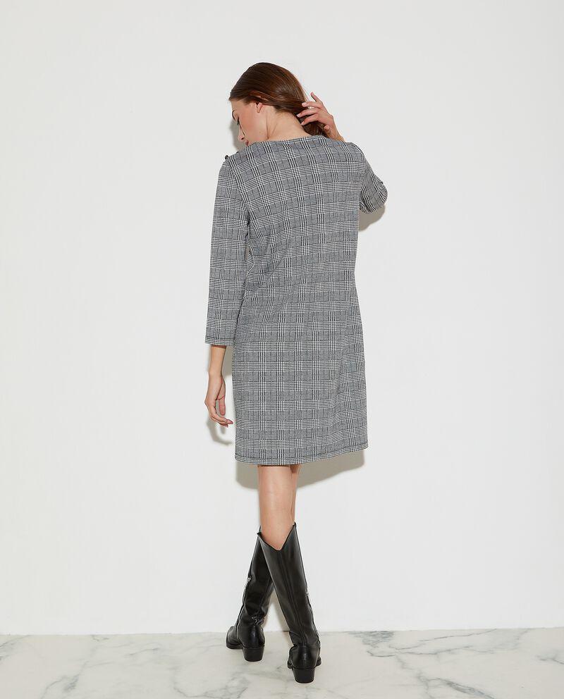 Vestito corto in jacquard a fantasia geometrica donna