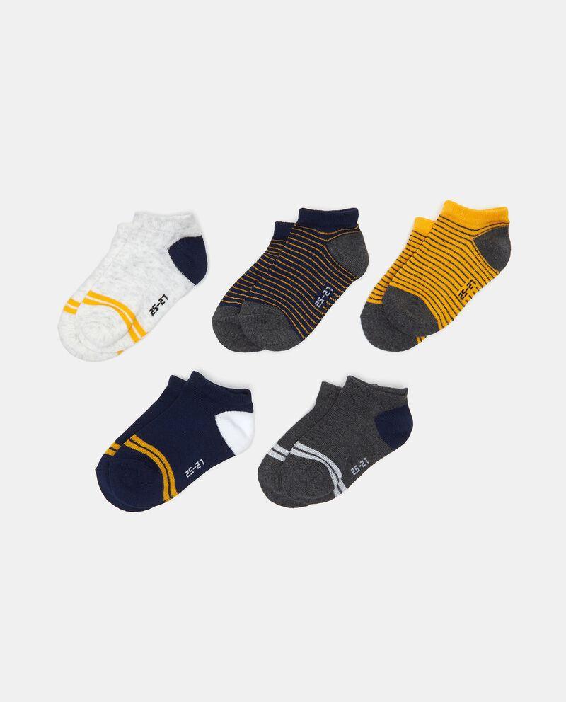 Set con 5 paia di calze alla caviglia in cotone elasticizzato