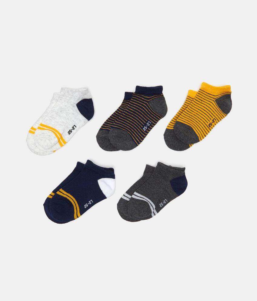 Set con 5 paia di calze alla caviglia in cotone elasticizzato double 1