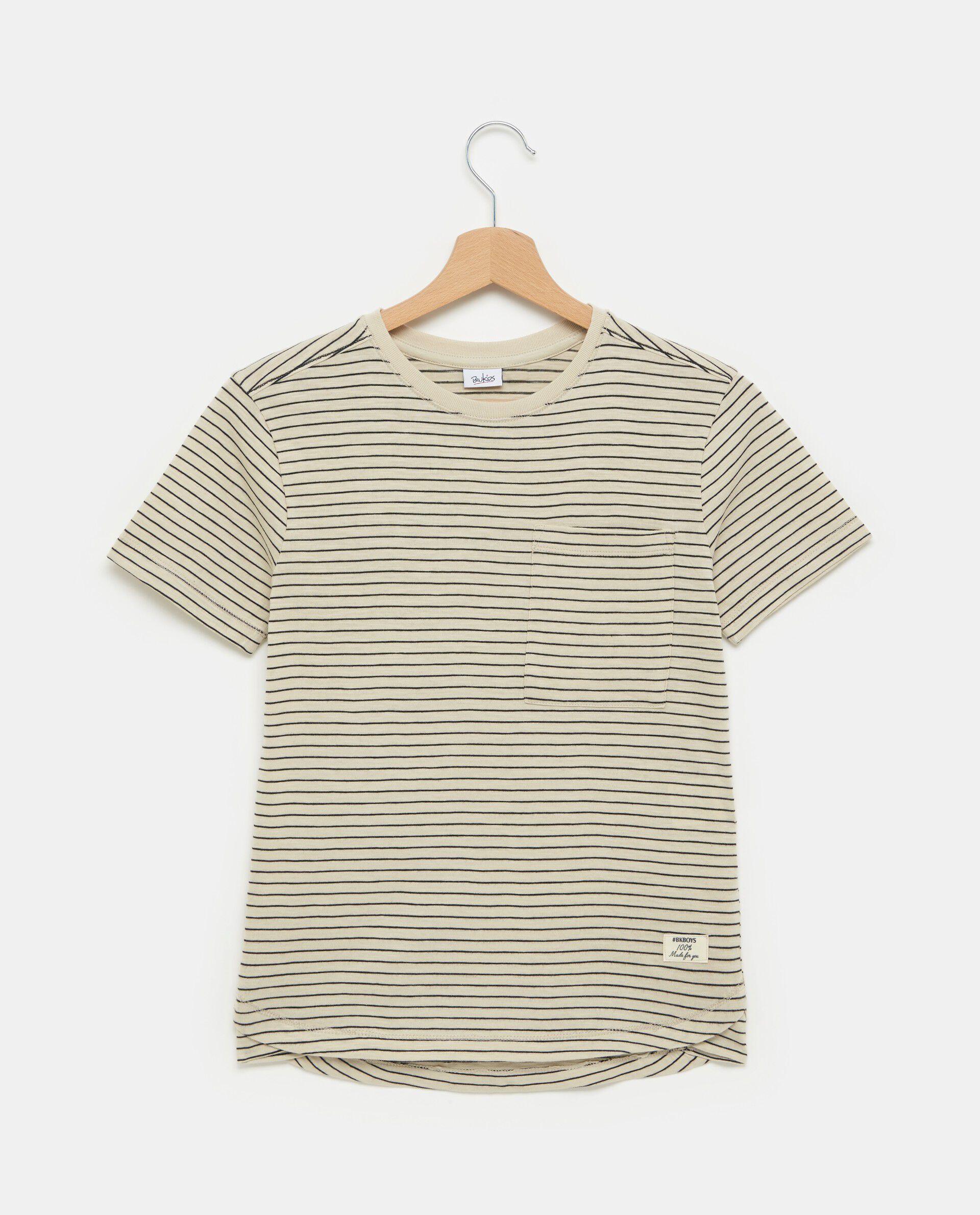 T-shirt beige in puro cotone con motivo a righe ragazzo
