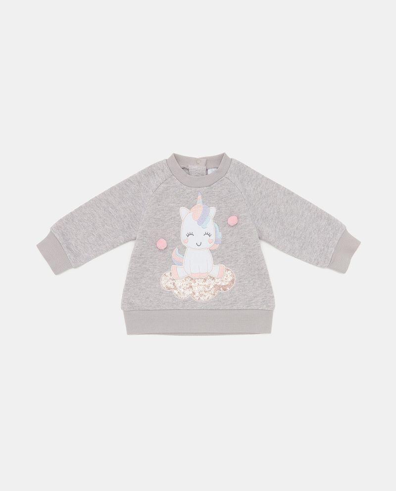 Felpa con patch unicorno neonata