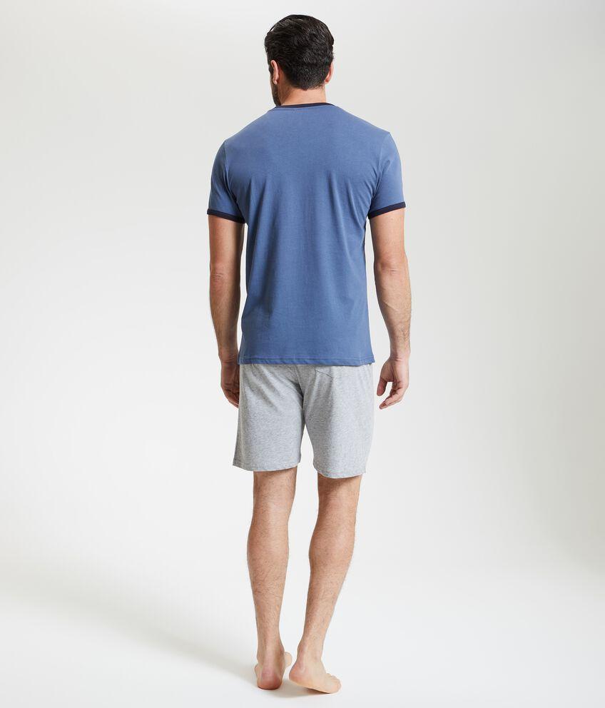 T-shirt pigiama con scollo a contrasto uomo