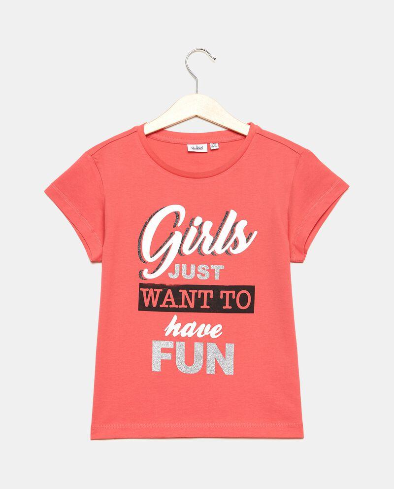 T-shirt in cotone organico jersey stampata ragazza cover