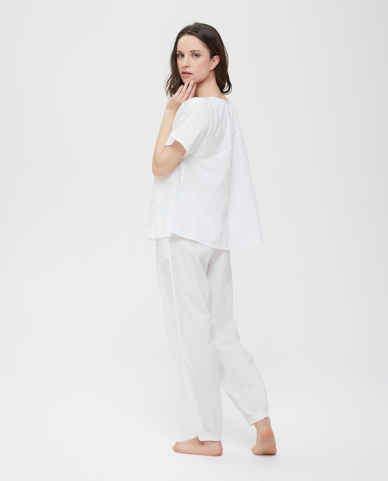 Maglia pigiama maniche corte ricami