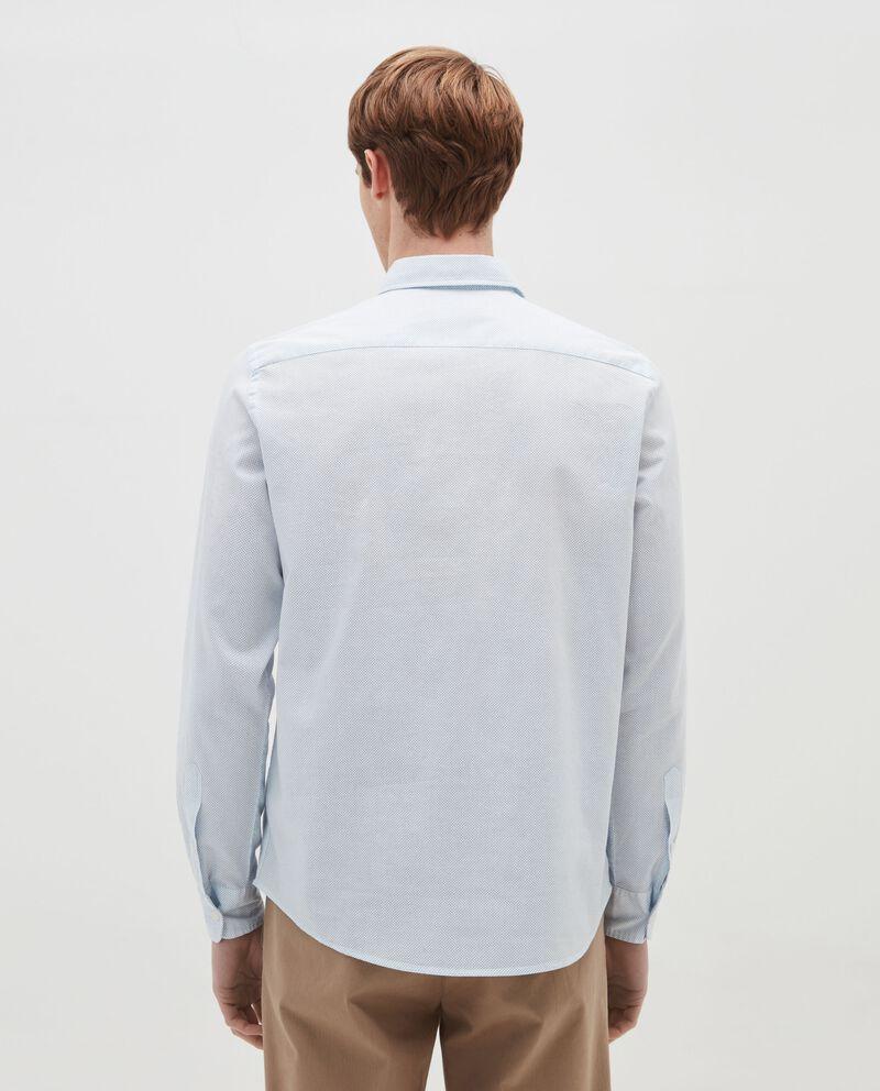 Camicia in lino e cotone micro pois
