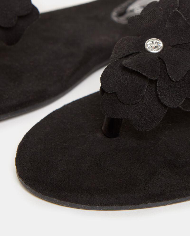 Sandali in tinta unita nera con fiori donna