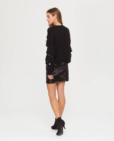 Pullover tricot maglia larga con frange