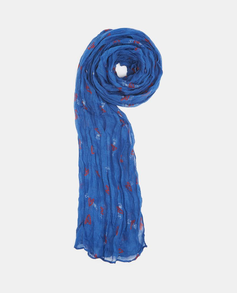 Sciarpa blu con fantasia a cuoricini donna