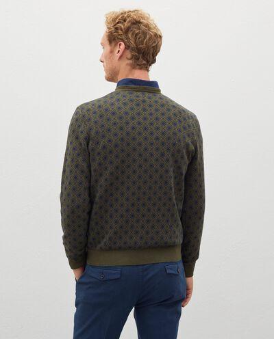 Pullover jacquard in cotone misto lana uomo detail 1