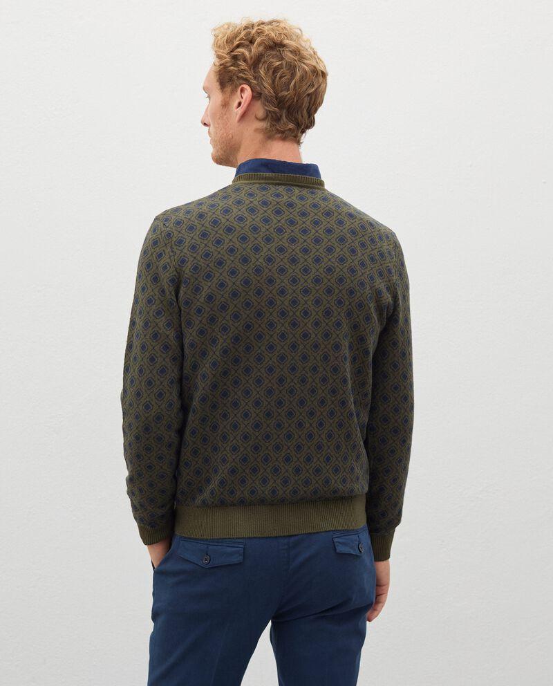 Pullover jacquard in cotone misto lana uomo single tile 1