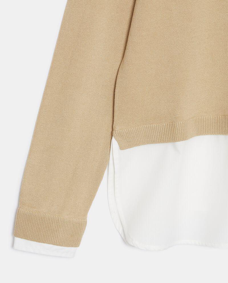 Maglia con inserto camicia donna single tile 1