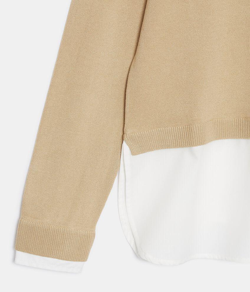 Maglia con inserto camicia donna double 2
