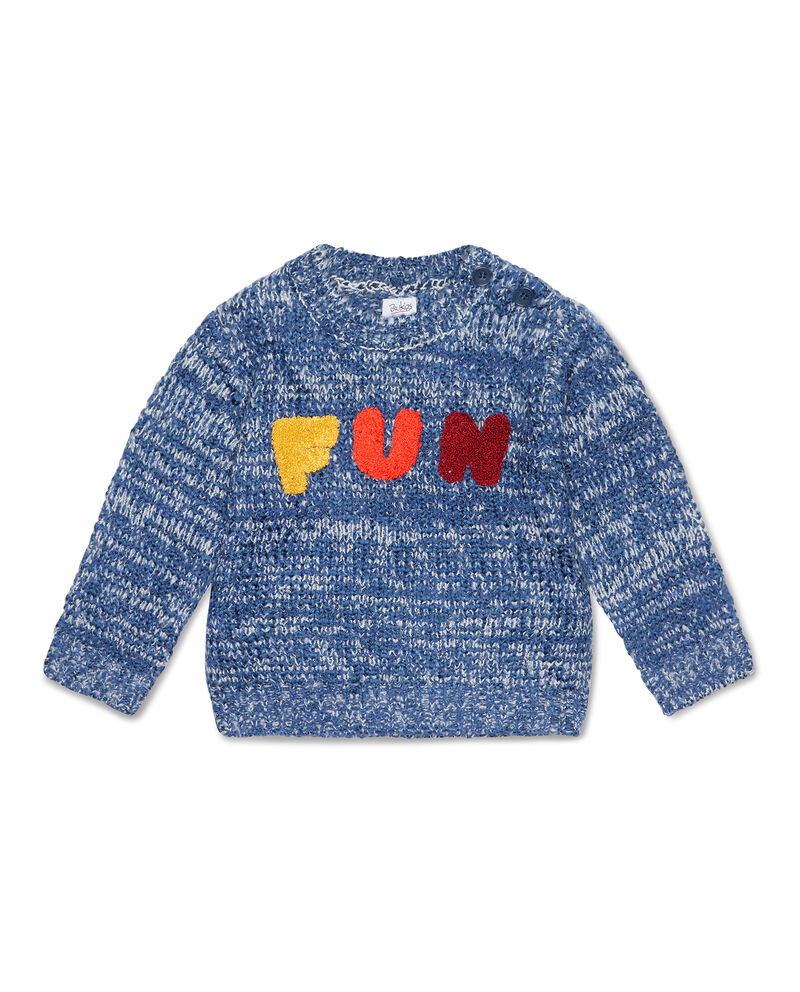 Pullover mélange con patch lettering