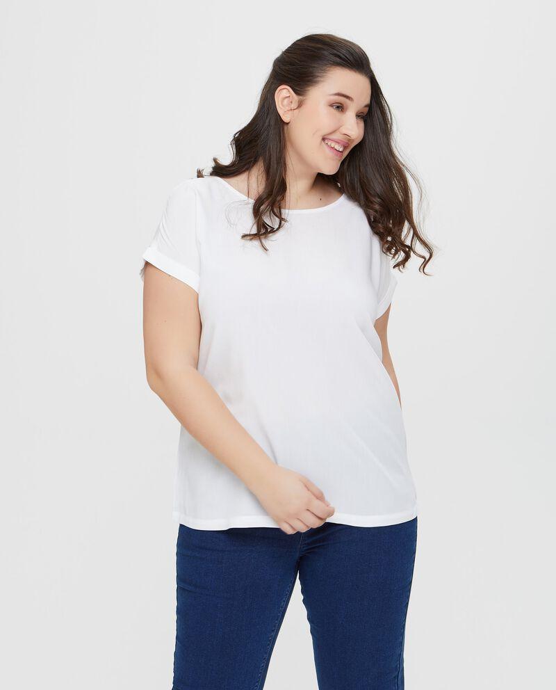 Blusa in pura viscosa tinta unita bianca