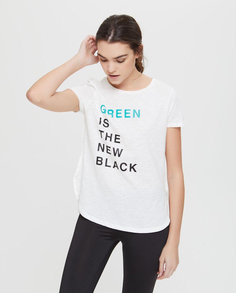T-shirt con spacchetti ai lati e stampa