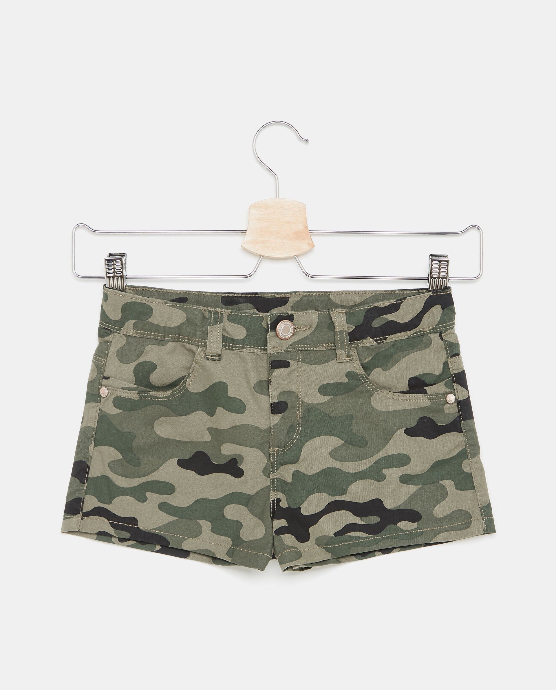 Shorts con fantasia militare ragazza