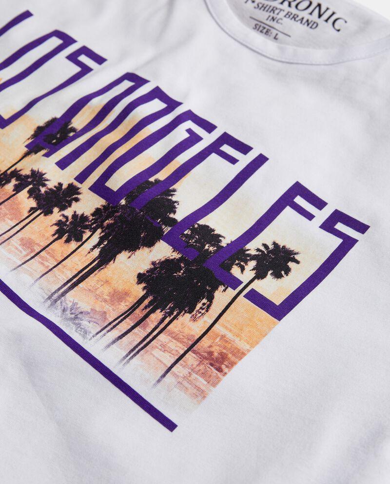 T-shirt in puro cotone con stampa e lettering uomo