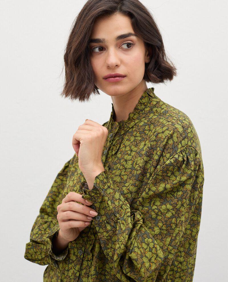 Camicia con colletto alla coreana in fantasia donna single tile 2